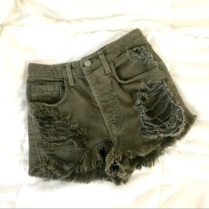 Distress Olive Green High-Waisted Jean Shorts